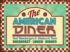 American Diner, 50's Retro Food Classic Old Route 66 USA, Medium Metal Tin Sign