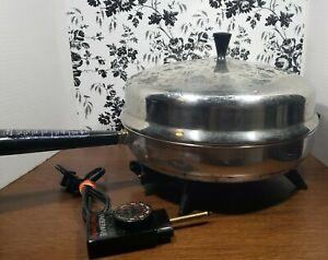 """Vintage Farberware Stainless Steel 12"""" Electric Skillet Fry Pan Lid Model 310 A"""