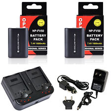 Opteka NP-FV50 Battery x2 & Charger for Sony DCR-SR15 SR21 SR68 SR88 SX15 SX21