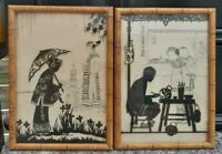 Vintage Deltrex Chinese silhouette reverse glass framed pictures very RARE