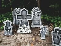SET OF 6 Tombstones Gravestone Outdoor Halloween Decoration Prop Cemetery Haunt