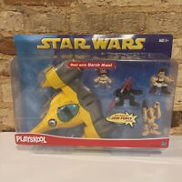 STAR WARS Playskool Duel with Darth Maul Naboo Starfighter & 4 Galactic Figures