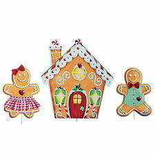 Gingerbread Decorative Metal Garden Stakes - Set of 3