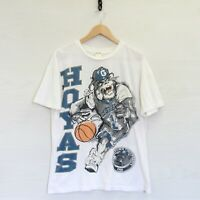 VTG Georgetown Hoyas All Over Print T-Shirt Size Large White 90s NCAA Basketball