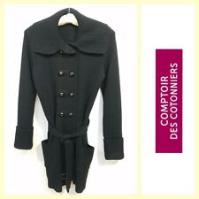 Comptoir Des Cotonniers $225 black wool blend belted cardigan/sweater coat~S