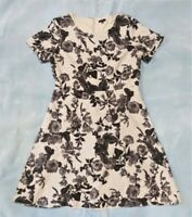 Talbots Women's Fit n Flare Dress 12 Black and Grey Floral Print A-Line