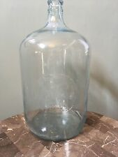 BELMONT SPRINGS, MA Vintage Glass 5 Gallon Water Carboy Bottle Jug Lt Blue Tint