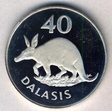Gambia Silver 40 Dalasis 1977 Endangered Wildlife - Aardvark