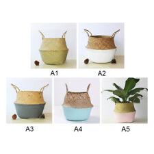 Folding Handmade Rattan Straw Basket Seaweed Woven Cosmetic Storage Bag Decor