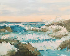 ROCK TUMBLER Original Seascape Ocean Expression Oil Painting 16x20 031318 KEN