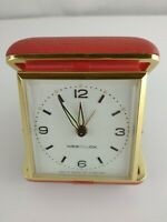 Vintage Westclox Travel Alarm Clock Red Case Made by General Time in Hong Kong