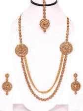 Gold Tone Long Kundan Set Necklace Wedding Jewelry Bridal Women Bollywood India