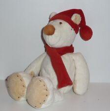 Doudou Ours Kiabi - Blanc Rouge Bonnet