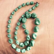 Vintage Retro 1980s Blue Green Turquoise Plastic Fixed Bead Graded Necklace 24in