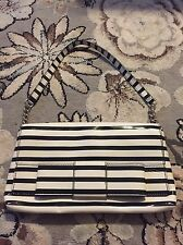 KATE SPADE RUBY STREET MONETTE STRIPED BOW PATENT LEATHER CHAIN SHOULDER HANDBAG