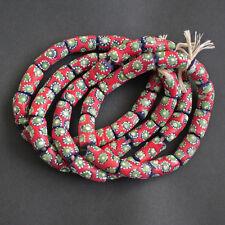 Africain perles de verre recyclé du Ghana Krobo tubes 22 mm Rouge Pour Bijoux Et Artisanat