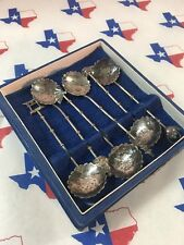 IN BOX 6 Japanese STERLING SILVER 950 demitasse SPOONS JAPAN BUDDHA Antique