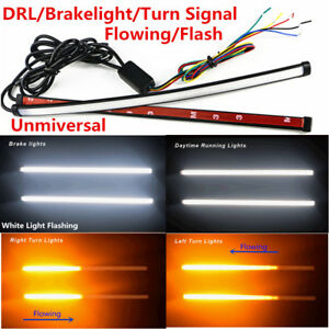 2x30cm Switchback Flowing Car DRL LED Knight Rider Turn Signal Brake Light Strip