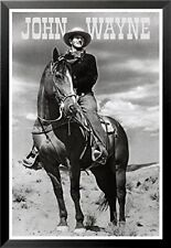 FRAMED John Wayne on a Horse Portrait 36x24 Poster Cowboy The Duke True Grit