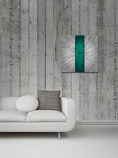 Teal Stripe Clock | Contemporary Turquoise Metal Wall Decor