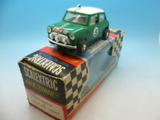 Scalextric C7 Rally Mini Cooper in green and boxed