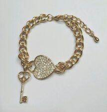 Armband Armkette HERZ mit Kristallen - Schlüssel - 19-22 cm - Farbe Gold - NEU