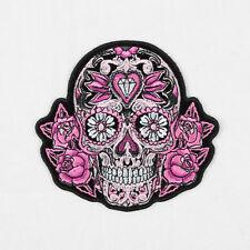 Biker Chopper Motorrad Pink Sugar Skull Totenkopf Rosen Aufbügler Aufnäher Patch
