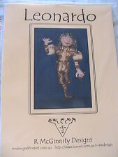 "LEONARDO, Rhonda McGinnity whimsical unique 21"" CLOTH ART DOLL PATTERN 1999"