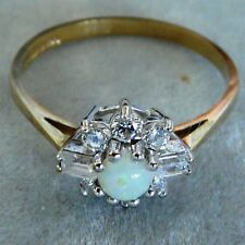 ** NEW ** 9ct Gold Opal Cubic Zirconia (CZ) Cluster Ring Q 8