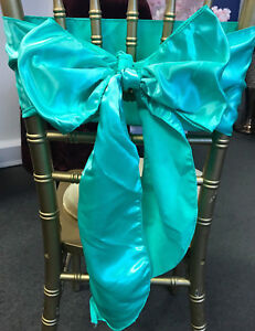 10 MINT SATIN CHAIR SASHES - CHAIR BOW - WEDDING EVENTS PARTY DECOR