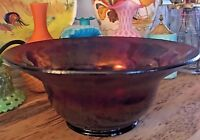 Vintage Iridescent Stretch Glass Footed Bowl Blue Purple