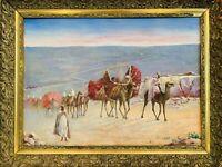 """ORIENTALISTE huile sur panneau XIXe """"La Caravane des courtisanes""""  64 x 84 cm"""