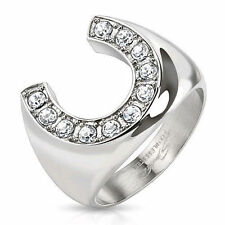 Stainless Steel Men's Lucky Horseshoe Ring Paved CZ Gem Size 9,10,11,12 (FL124)