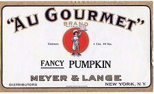 Tin Can Label Vintage Orig. Au Gourmet Fancy Pumpkin w/ Cook NY Unused NOS !