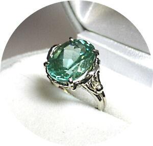 Lovely Green PARAIBA Tourmaline Ring - Lg. 5.95CT - Vintage 14k White Gold Mtg.