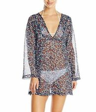 Jones New York Small Black Ditsy Floral Tunic Swimsuit Cover-Up $68 S NWT