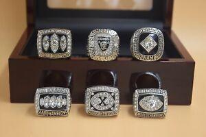 6 Pcs 1967 1976 1980 1983 2002 2014 Oakland Raiders Championship Ring -//----