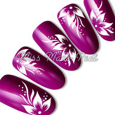 NAIL Art Water Trasferimenti Adesivi Wraps Decalcomanie Bianco Tropical Fiori Puntini y003