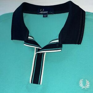 Fred Perry LARGE Turquoise polo shirt RINGER MENS short sleeve