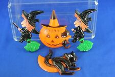LOT OF 4 VINTAGE HALLOWEEN HARD PLASTIC CAKE TOPPERS #1