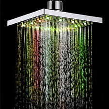 7 Color LED Auto Changing Shower Square Head Light Home Water Bathroom Rain ZD