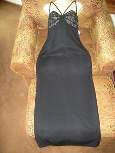 NWT long black embroider lace/nude gown dress sz 10 L K L Lawrence Kurtz