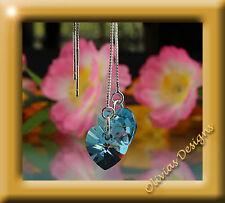 Ohrhänger & Kette Silber 925  mit ORIGINAL SWAROVSKI Kristalle Blau Herz