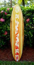 Fire Sunset Tropical Flower Wood Surfboard Wall Art Original Beach Decoration