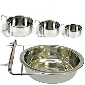 Clip On Water Bowl Cage Coop Cup Hook S M L XL Dog Cat Bird Hamster Reptile Dish