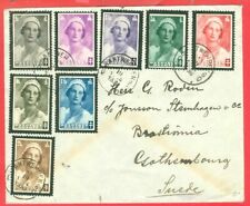Belgium Semi Postal Queen ASTRID Set of 8 used on cover