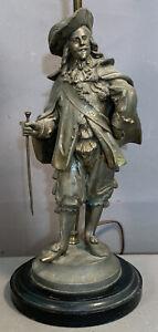 Antique VICTORIAN Era CAVALIER STATUE Old DON JUAN CESAR SCULPTURE Figural LAMP