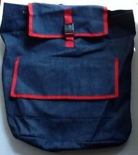 Heavy Duty Denim Backpack New With Red Trim School Class Drawstring Label Jean