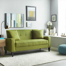 Modern Sofa Retro Green Linen Look Couch Living Room Furniture Settee Expresso