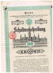 K.k. Reichshaupt- und Residenzstadt Wien, 1892, 100 Kronen, deko, gelocht, VF